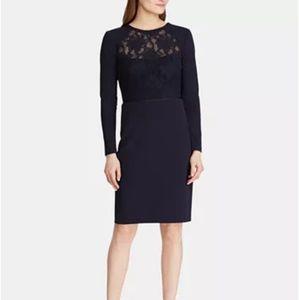 Lauren Ralph Lauren Lace Yoke crepe navy dress